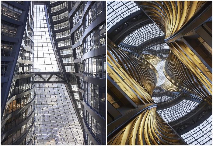 Самый высокий атриум в мире разделяет небоскреб Leeza Soho на две половины (Пекин, Китай).