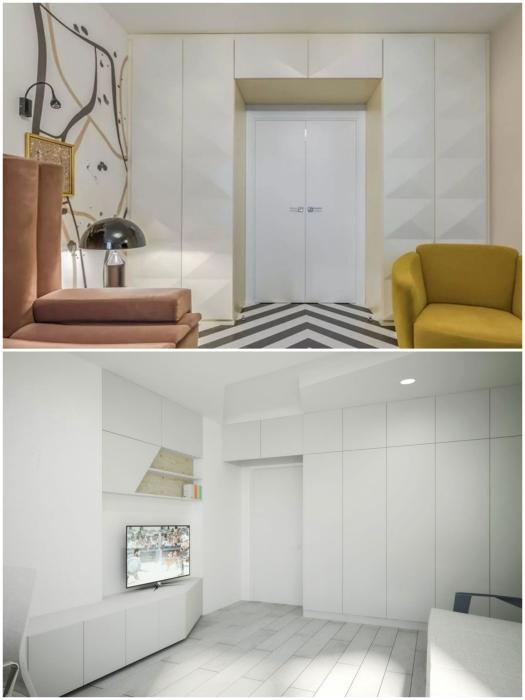 Шкафы вокруг дверного проема лучше выбирать в одном тоне с цветом стен или сделать на них ненавязчивый акцент.   Фото: bezkovrov.com/ pinterest.pt.