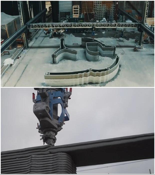 Для строительства многоквартирного дома используют мощный 3D-принтер COBOD BOD2 с высокой производительностью. © HeidelbergCement Deutschland.