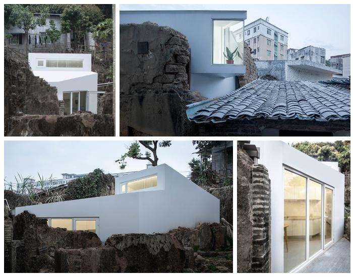 Модульные дома «Plugin House» можно создавать внутри полуразрушенного здания (Китай).