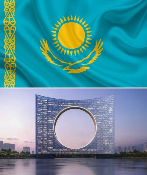 Новый мост своим внешним видом будет напоминать флаг Казахстана («Tower of the Sun», Казахстан). | Фото: e-history.kz.