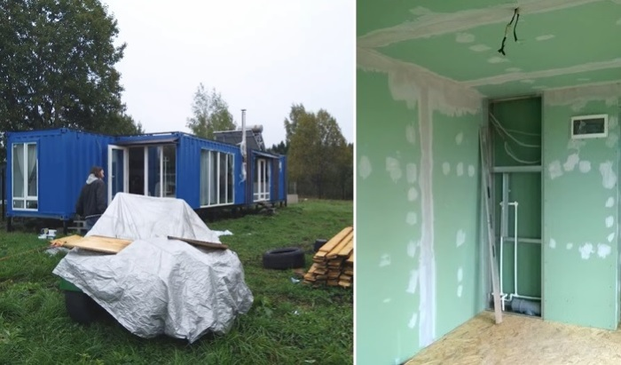 В таком виде контейнерный дом был доставлен заказчикам («Небанальный дачный домик», Истра).