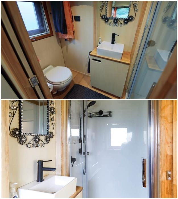 Вполне комфортная ванная комната получилась в домике-грузовике. | Фото: instagram.com.