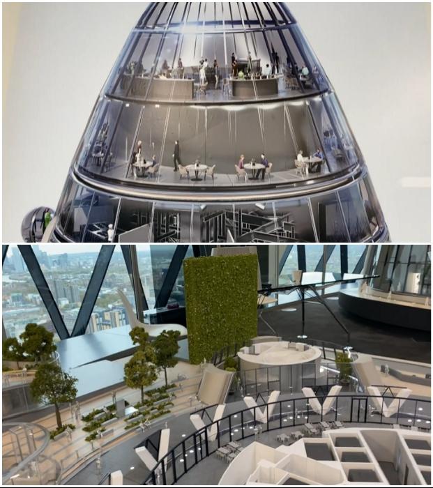 В стеклянном бутоне «Тюльпана» создадут несколько уровней для организации общественных мест (концепт The Tulip, Великобритания).