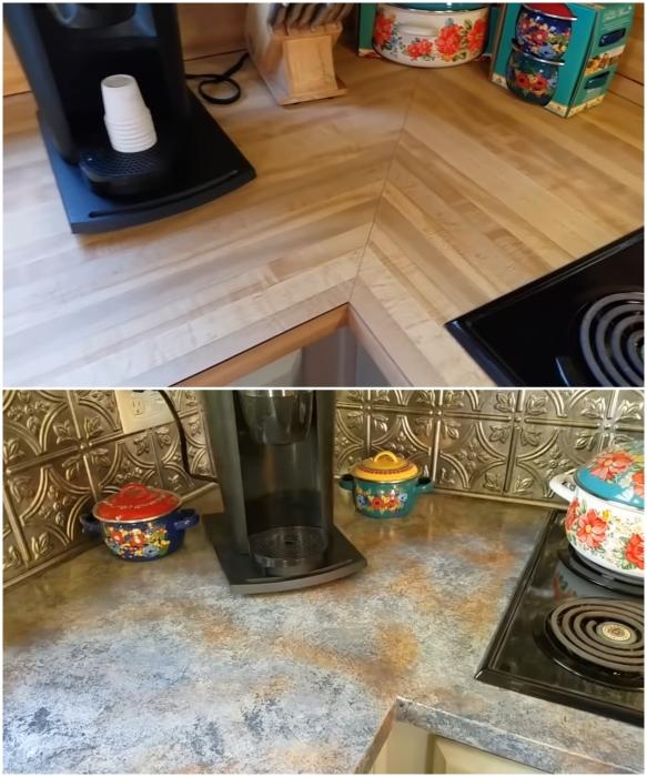 На обновление кухни понадобилось всего лишь 65 дол. | Фото: youtube.com/ Lisa Capen Quilts.