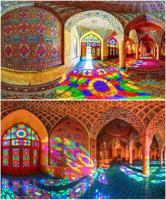 Когда солнечные лучи проходят сквозь витражи, внутри мечети появляются фантастически яркие переливы (Nasir al-Mulk, Иран). | Фото: photokarachko.blogspot.com.