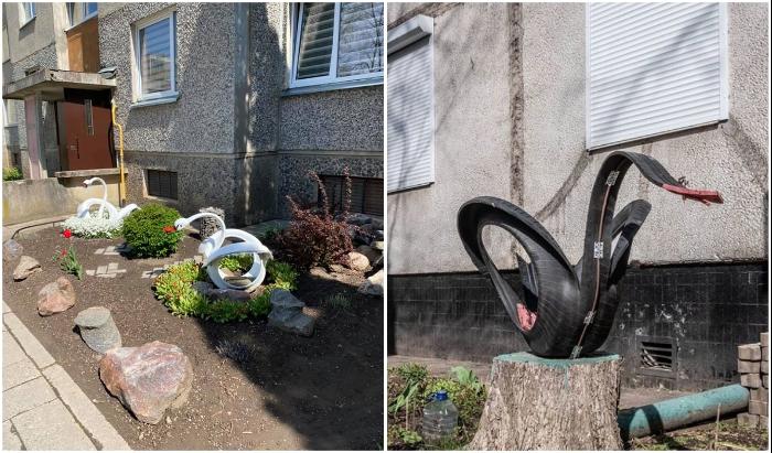 Изящные лебеди из старых шин украшают и литовские дворы. | Фото: tanjand.livejournal.com/ ucrazy.ru.
