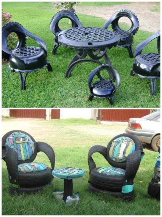 Долговечные стол и стулья из покрышек для дачного участка. | Фото: yandex.com.