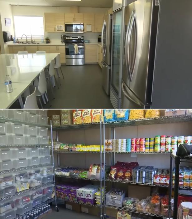 Несколько холодильников и кладовая будут заполнены продуктами питания, за которые жителям коммуны платить не придется («Bridge Housing Community», Сан-Хосе). | Фото: youtube.com/ © <br>KPIX CBS SF Bay Area.