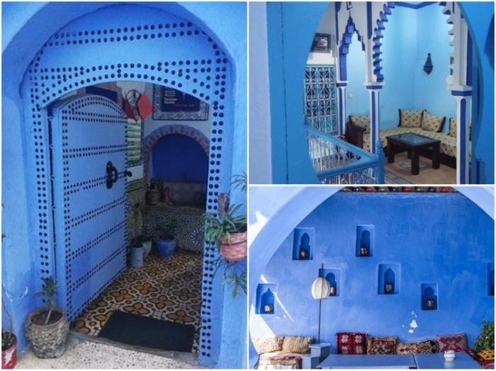 Интерьер старинных домов под стать всему сине-голубому убранству города (Шефшауэн, Марокко). | Фото: tripadvisor.co.za.