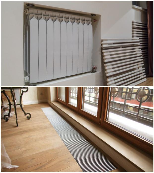 Если имеются ниши или подиумы, то в них можно спрятать отопительные радиаторы или конвекторы.