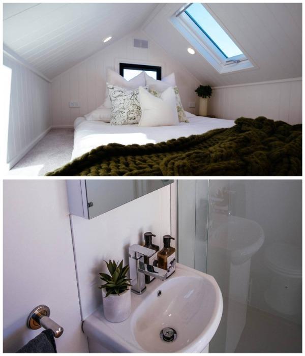 В миниатюрном домике поместилась и спальня с ванной комнатой. | Фото: tinyliving.com.