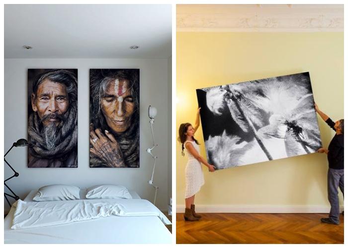 Нельзя размещать большие картины или панно в маленькой комнате, это визуально уменьшит площадь.