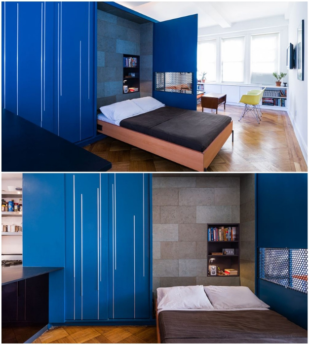 Двуспальная кровать легко прячется в модульный шкаф (Unfolding apartment, Манхэттен).