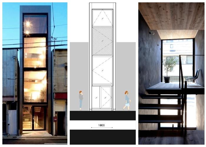 В пролете шириной 2 метра удалось создать благоустроенное жилье (Ultra-Narrow House, Токио).