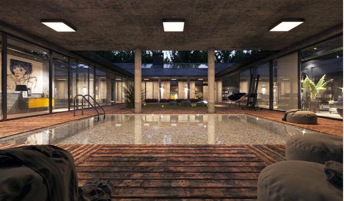 Ну кто может отказаться от такого бассейна в собственном доме? (визуализация «Casa introvert is dream house»).   Фото: behance.net/ © Elmir Huseynov.