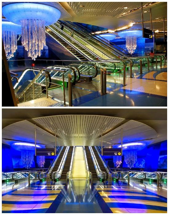 Самая футуристическая станция метрополитена Khalid Bin Al Waleed находится в Дубаи (ОАЭ).