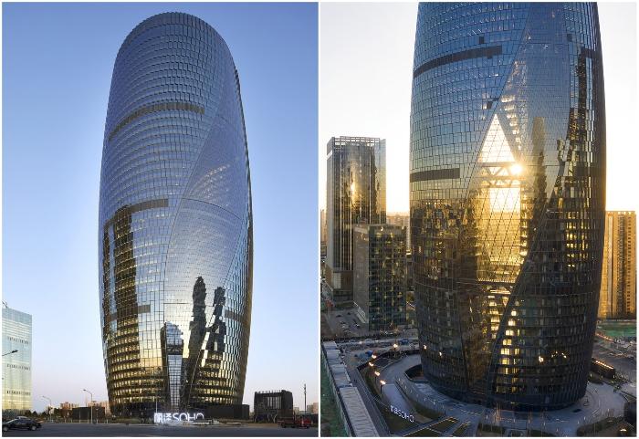 45-этажная башня площадью 172,8 тыс. кв. м стала украшением делового квартала Пекина (Leeza Soho, проект Zaha Hadid Architects).
