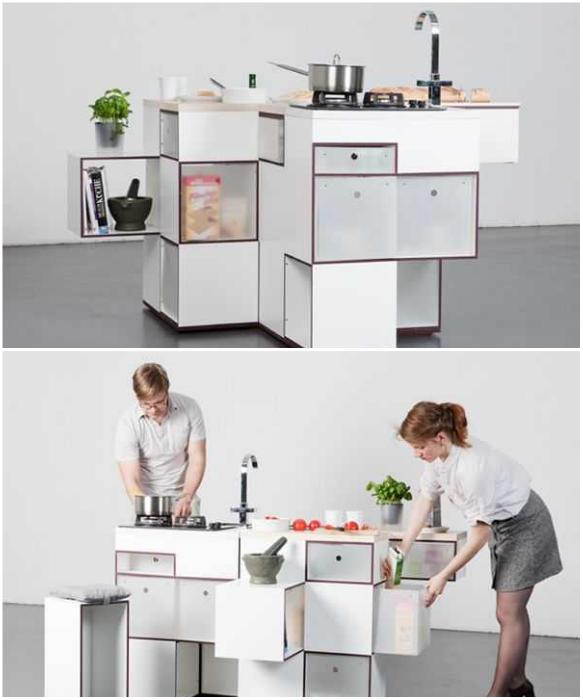 Кухонный конструктор «Carre» состоит из двух модулей и его можно собирать, как кому заблагорассудится. | Фото: ciscoexpo.ru.