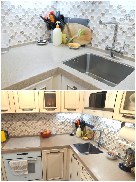 Чтобы поместилась мойка на узкой части столешницы, ее пришлось развернуть на 90 градусов. | Фото: youtube.com/ © Irin Andrez.