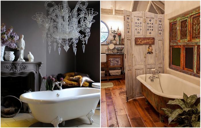 Примеры оформления ванных комнат в викторианском стиле и в стиле шебби-шик.   Фото: interiorsroom.ru/ roomble.com.