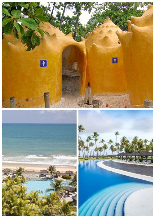 Общественная уборная на пляжах курорта Прайя-ду-Форте больше напоминает сказочные домики морского царства (Бразилия).