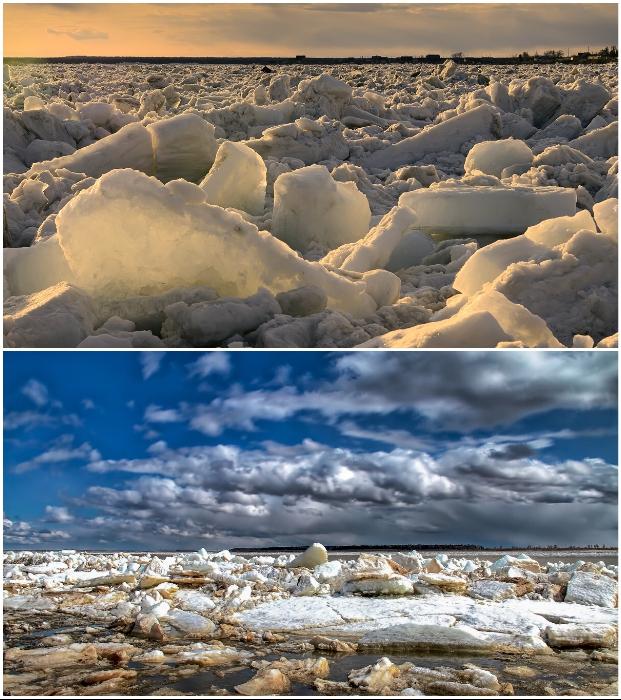 Мощные ледоходы на бурных реках сметают все на своем пути (пос. Хатанга, Таймыр).