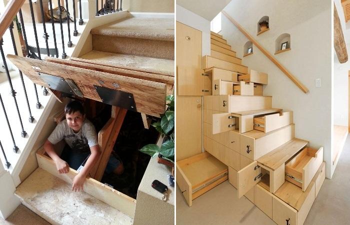 Если грамотно все рассчитать, то под ступенями лестницы можно спрятать практически все. | Фото: keiththomsonbooks.com.