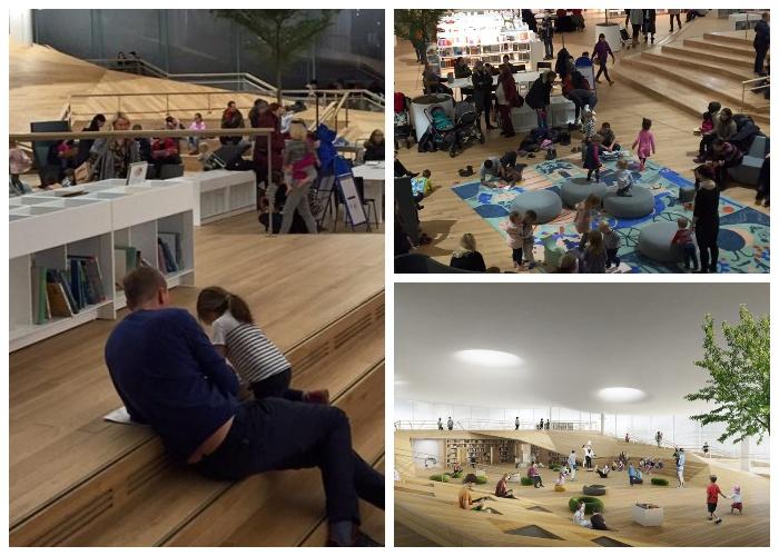 В огромном читальном зале уделено особое внимание детям (Центральная библиотека Oodi, Хельсинки).