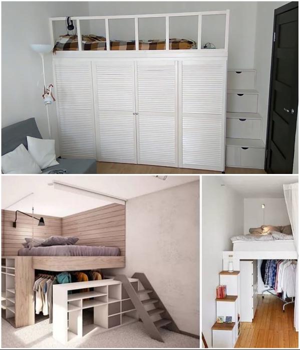 Кровать-чердак – идеальное место для организации скрытых систем хранения. | Фото: moskva.gde.ru/ domvpavlino.ru.