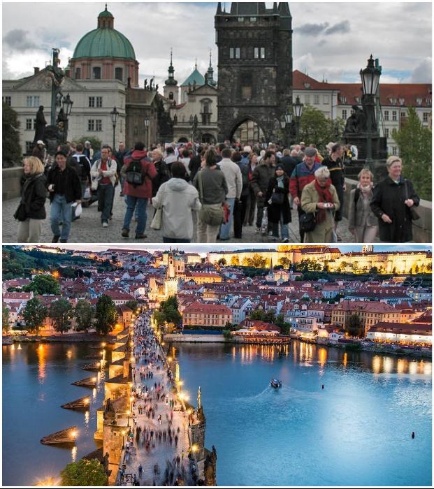 Карлов мост стал местом паломничества миллионов туристов (Прага, Чехия).