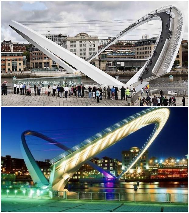 Gateshead Millennium – это единственный наклонный мост в мире.