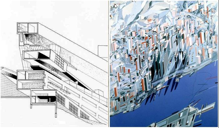 Футуристический концепт в стиле супрематизма так и не был воплощен (The Peak Leisure Club, Заха Хадид).