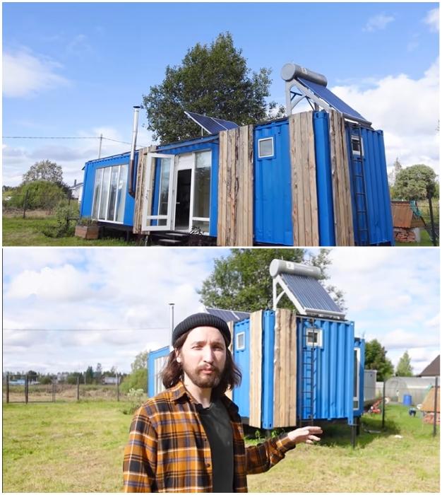Для энергонезависимости дачного дома Николай установил солнечные панели и специальный коллектор для нагрева воды («Небанальный дачный домик», Истра).