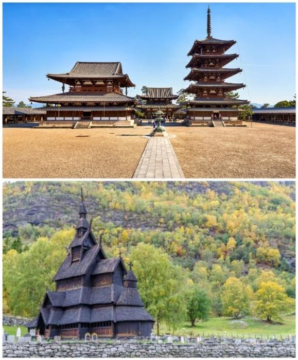 Старинный буддийский храм Хорю-дзи в Японии и самая древняя деревянная церковь Норвегии. | Фото: voyagejapan.com/ 123RF.com.
