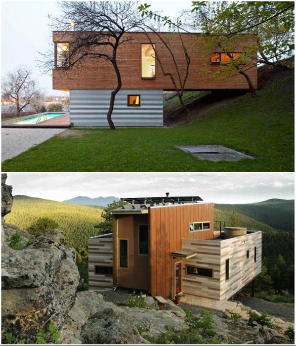 Компактный домик из контейнеров можно пристроить в самых неожиданных местах. | Фото: container-stroy.com.ua/ blockmodul.com.ua.