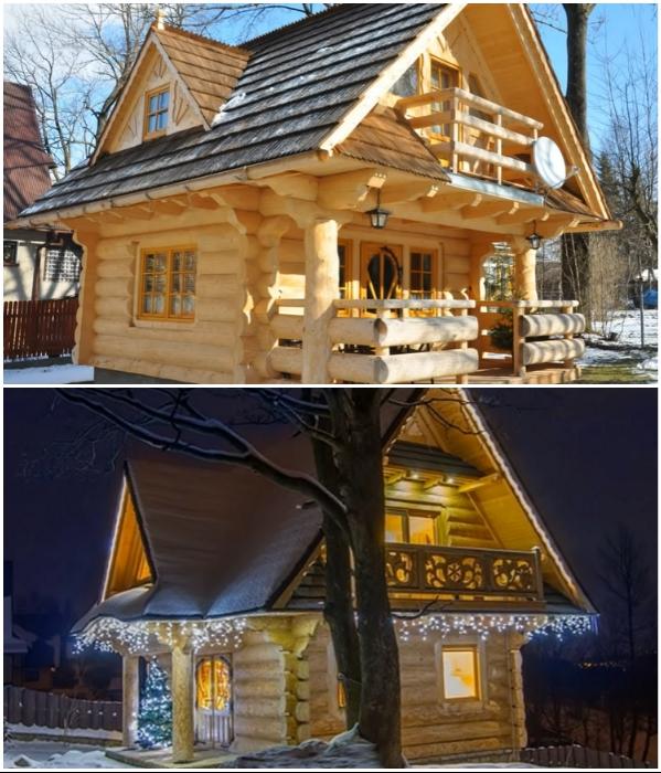Крошечный бревенчатый дом из Швейцарии покорил сказочной красотой и рациональной планировкой («Stunning Gate Lodge»). | Фото: youtube.com/ © Vuong Le.