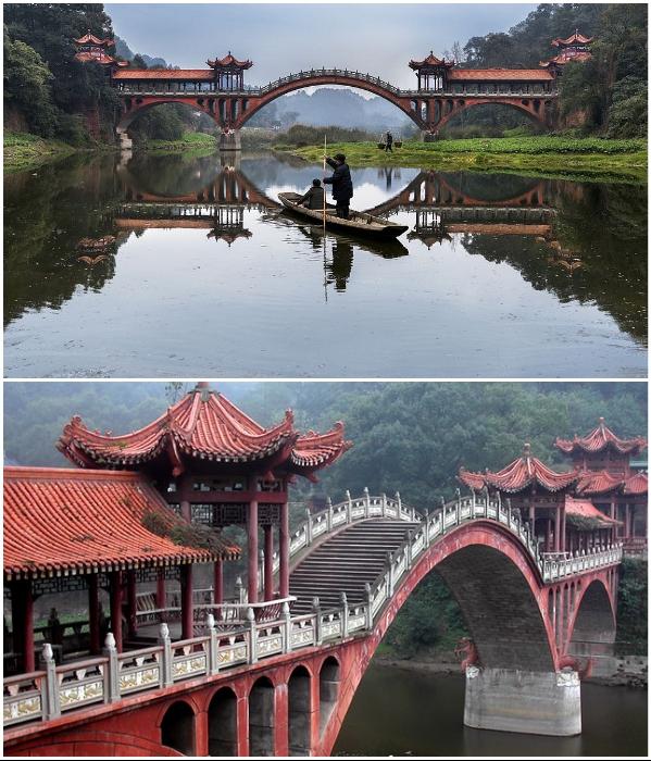 Мост Haoshang создан в лучших китайских традициях (Эмэйшань, Китай). | Фото: cavaliergalleries.com/ steemit.com.