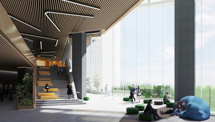 Зоны отдыха и общения будут иметь выход на террасы, засаженные живыми растениями (концепт NBBJ). | Фото: archdaily.com.