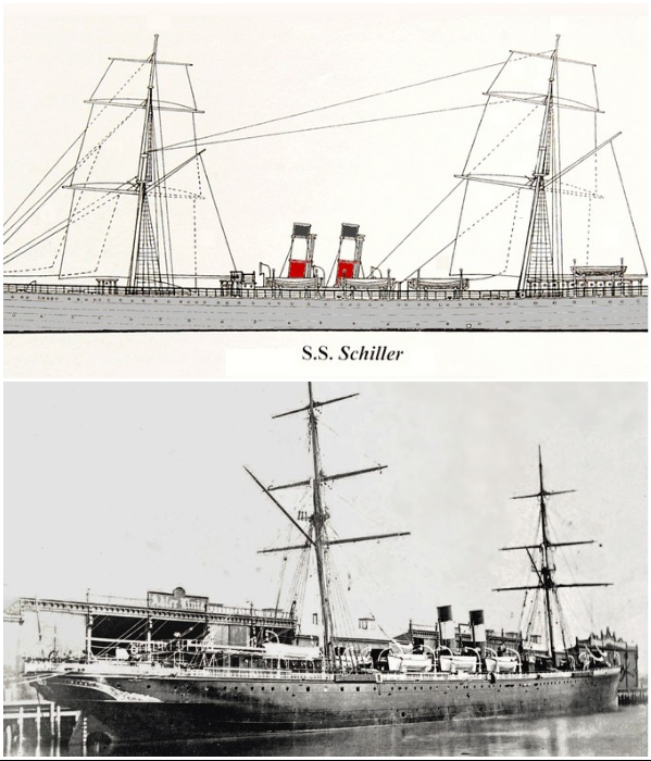 Немецкий океанический лайнер «SS Schiller», курсирующий между Нью-Йорком и Гамбургом потерпел крушение возле маяка Bishop Rock. | Фото: en.wikipedia.org/ histomar.net.