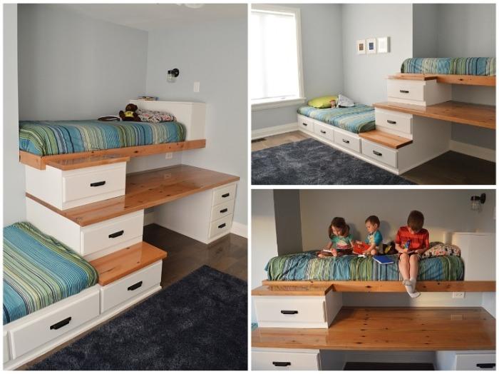 За две недели родителям удалось создать очень уютную и просторную детскую комнату для своих сыновей. | Фото: cpykami.livejournal.com.