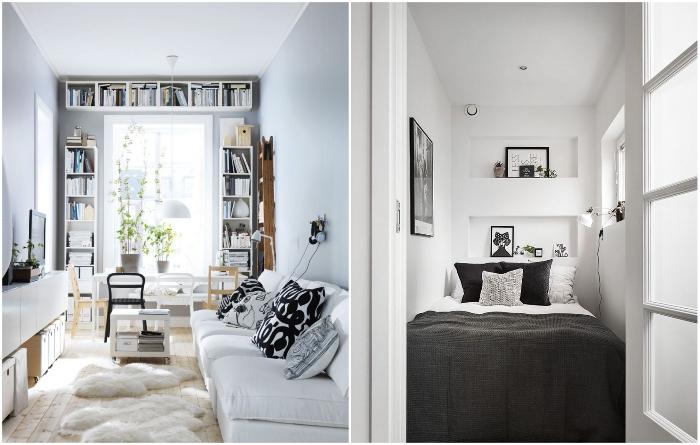 Когда белый цвет прекрасно дополняется контрастным текстилем. | Фото: roomble.com/ мир-уюта55.рф.