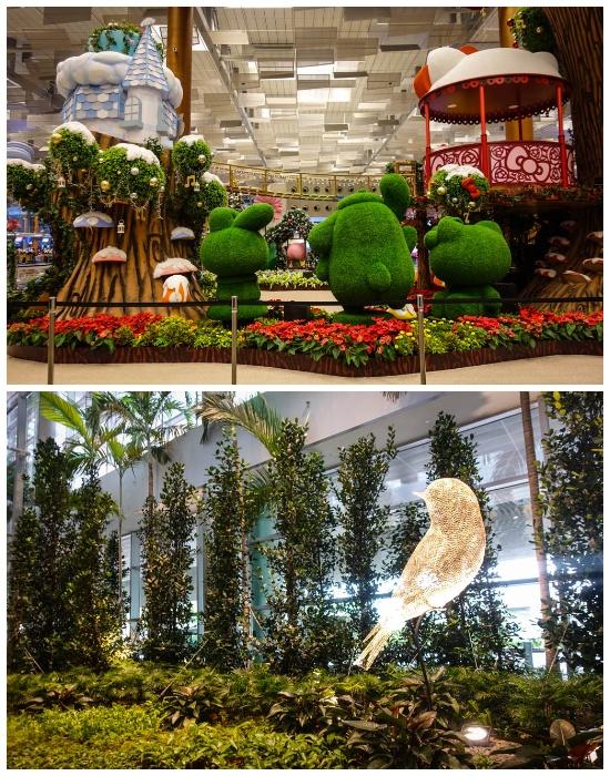 2,5 тыс. деревьев и 100 тыс. кустарников, а также ландшафтные топиарные фигуры стали отличительной чертой аэропорта Changi (Сингапур).   Фото: levik.livejournal.com.