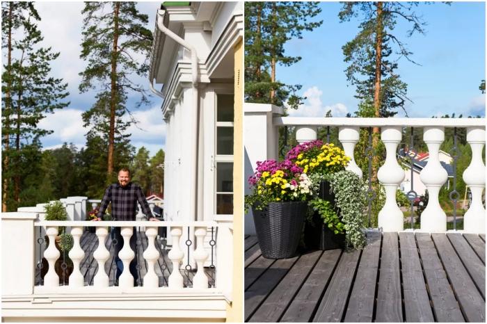 Восстановленные балюстрады стали дополнительным украшением открытых террас и балконов («Солнечный замок», Финляндия). | Фото: meillakotona.fi.