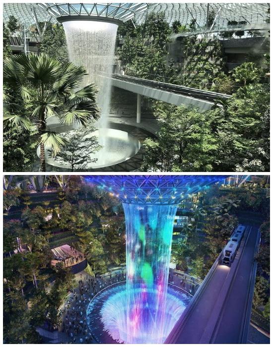 Рукотворный водопад «Rain Vortex», расположенный внутри здания стал главным украшением комплекса «Jewel Changi Airport» (Сингапур).   Фото: mors.in.ua.