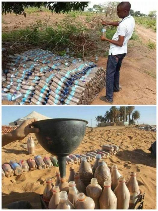 Для создания своеобразных кирпичей в каждую бутылку пришлось насыпать песок. | Фото: steemit.com.