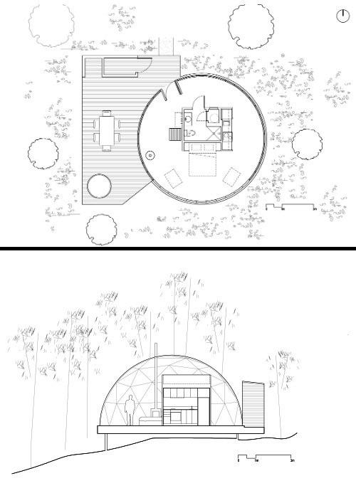 Схема размещения всех зон внутри эко-отеля Domes Charlevoix (Канада).
