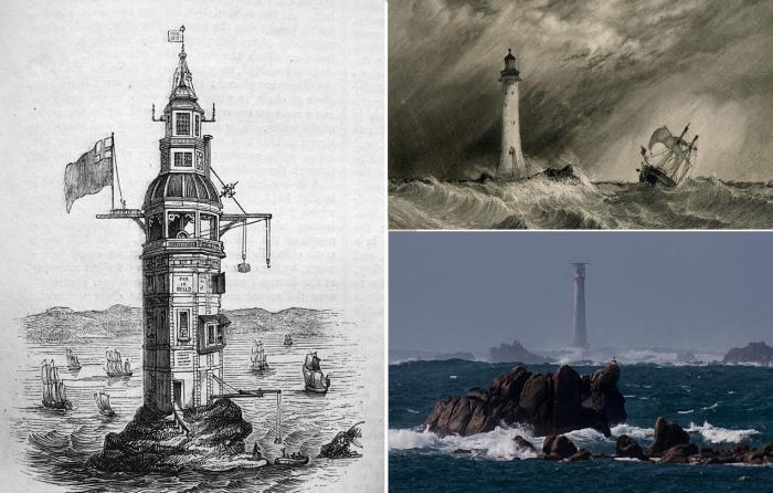 За 265 лет своего существования маяк Эдистон четырежды менял свой облик (Великобритания). | Фото: wikiwand.com/ auction.violity.com/ itboat.com.