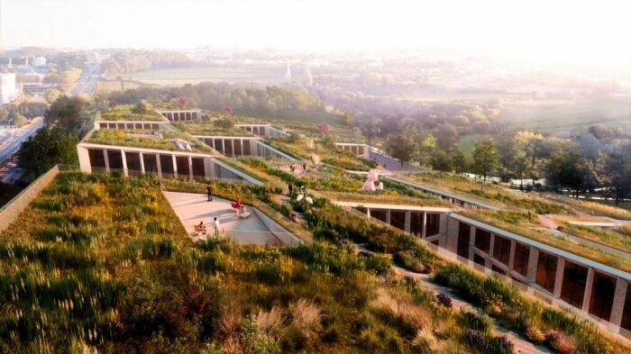 Наклонные крыши станут продолжением природной зоны, где можно будет прогуляться в обеденный перерыв (концепт Fase Valley). | Фото: coreinvestments.pt.