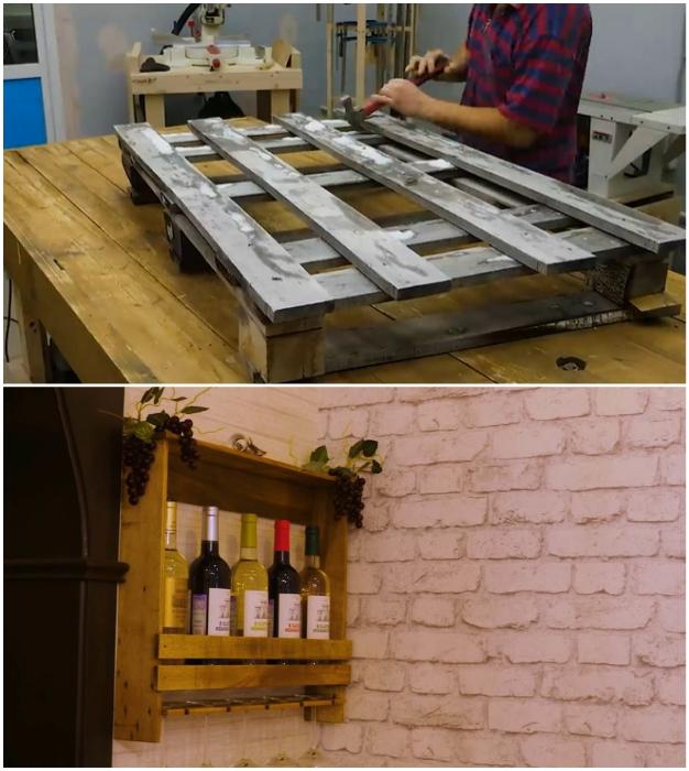 Из старого поддона можно сделать полку-бар своими руками.
